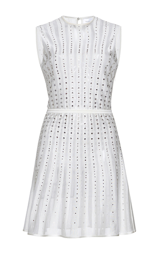 Medium zuhair murad white short pleated crystal embroidered knit dress