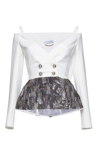 Medium zuhair murad white off shoulder cady jacket with embroidery