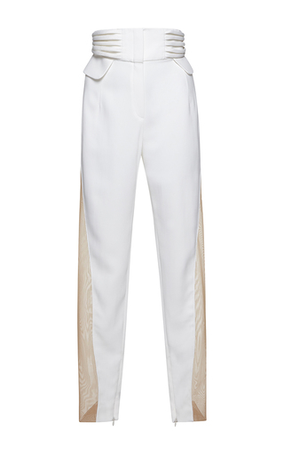 Medium zuhair murad white high waist tuxedo cady trousers with mikado bands on the side