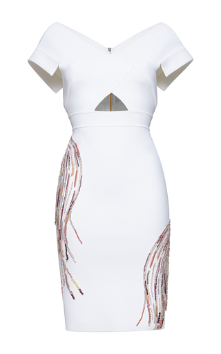 Medium zuhair murad white knee length embroidered punto milano knit dress with 50 s neckline