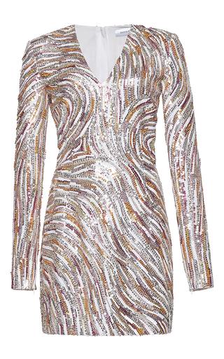Medium zuhair murad multi short fully embroidered dress in swirling stripes print