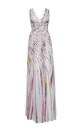Medium zuhair murad multi long georgette swirling stripes printed dress with a slit
