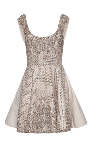 Medium zuhair murad multi short flared metallic embroidered dress