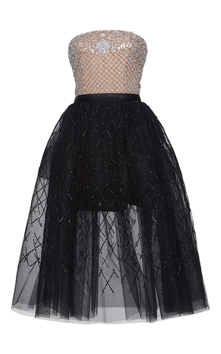 Medium zuhair murad multi fully embroidered knee length tulle dress