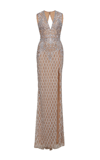 Medium zuhair murad metallic long fully beaded nude tulle dress