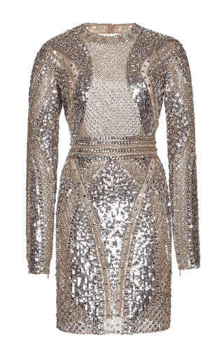 Medium zuhair murad metallic fully beaded mini tulle dress