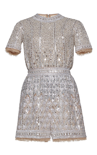Medium zuhair murad metallic fully embroidered nude tulle romper
