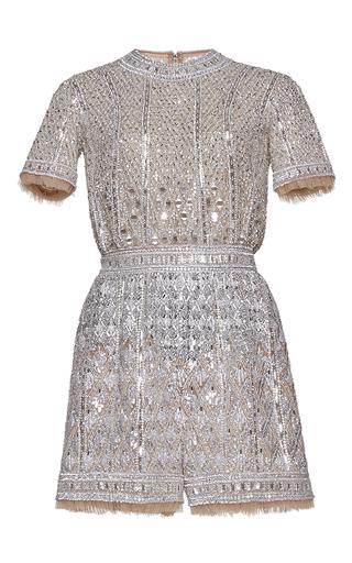 Medium zuhair murad metallic fully embroidered nude tulle romper