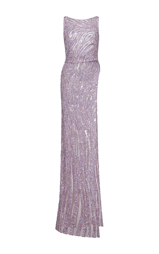 Medium zuhair murad purple asymmetrical length embroidered tulle top