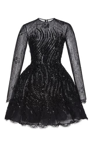 Medium zuhair murad black embroidered flared short lace dress