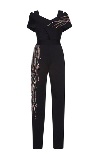 Medium zuhair murad white punto milano knit embroidered jumpsuit with 50 s neckline