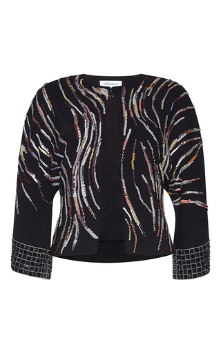 Medium zuhair murad multi kimono cady jacket in swirling stripes print