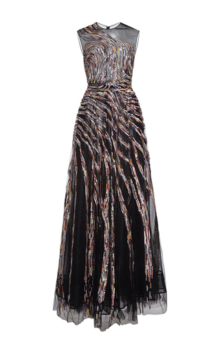 Medium zuhair murad black long tulle embroidered dress