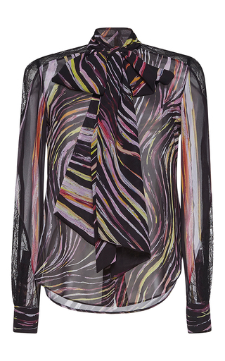 Medium zuhair murad print georgette and lace shirt with bow in swirling stripes print