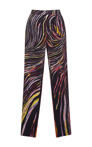 Medium zuhair murad multi cady trousers in swirling stripes print