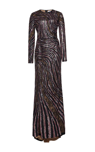 Medium zuhair murad metallic long mermaid fully embroidered dress with lace cut out