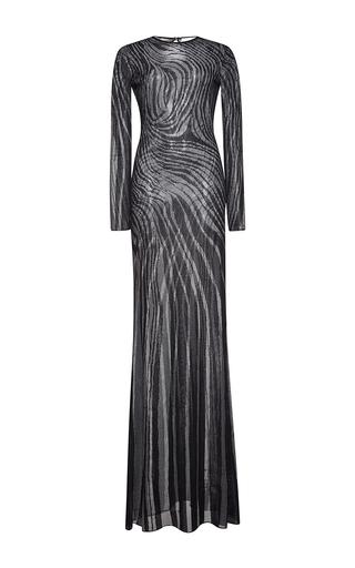 Medium zuhair murad black long flared tattoo effect knit dress