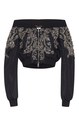 Medium zuhair murad black off the shoulder nylon bomber jacket with crystal embroidery
