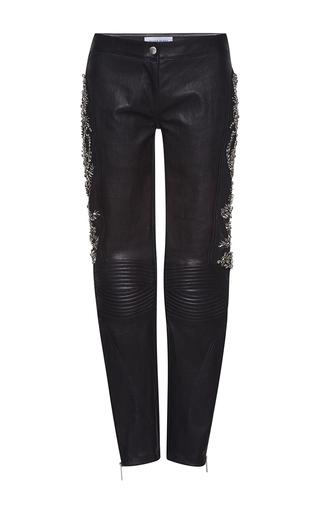 Medium zuhair murad black biker pants with crystal embroidery