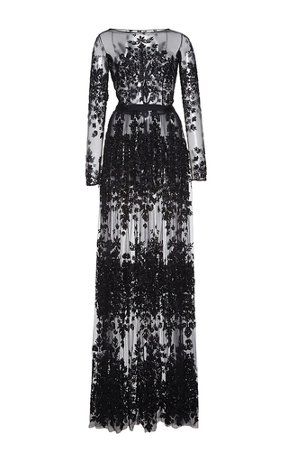 Medium zuhair murad black thread embroidered long tulle dress