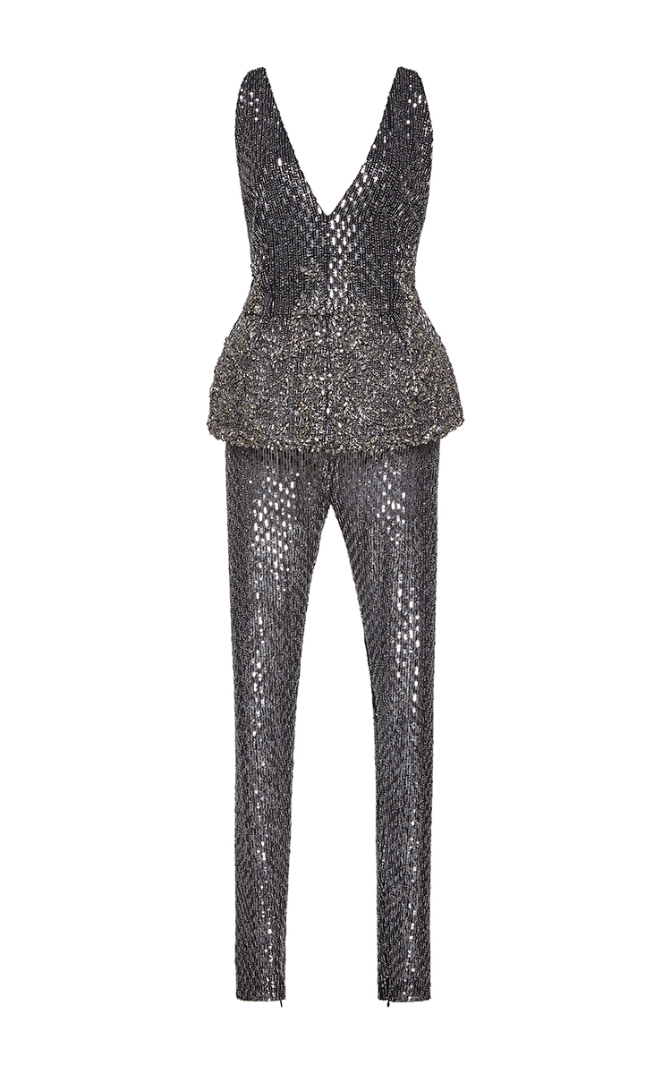 1c5012bb07c0 Metallic Embroidered Jersey Jumpsuit with Peplum by Zuhair Murad ...
