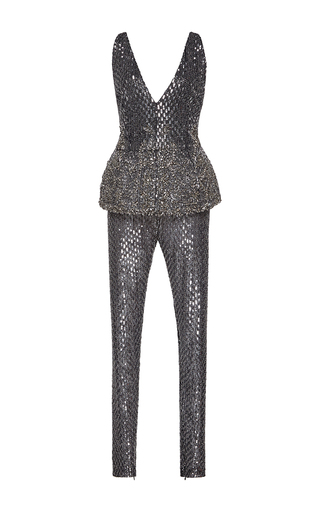Medium zuhair murad metallic metallic embroidered jersey jumpsuit with peplum
