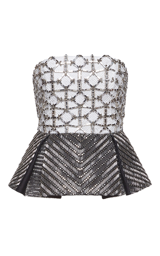 Medium zuhair murad black bicolor corset with mikado embroidered peplum