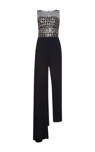 Medium zuhair murad metallic cady jumpsuit with embroidered tulle bodice