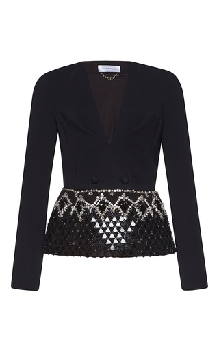 Medium zuhair murad metallic peplum cady jacket with jewelry embroidery