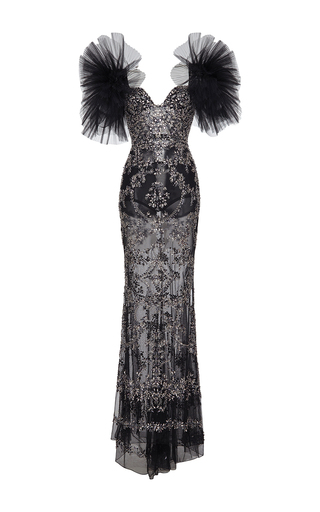 Medium zuhair murad black long fully embroidered tulle dress with pleated puff sleeves