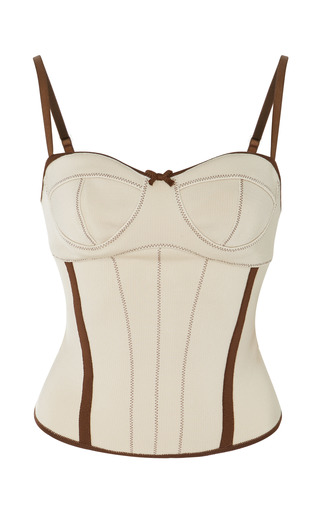 Medium loewe white stretch knit corset top