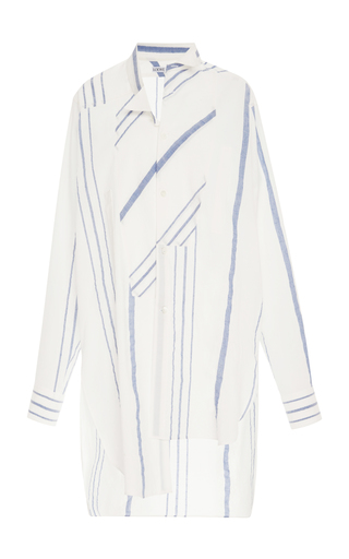 Medium loewe stripe striped cotton and linen blend shirt dress