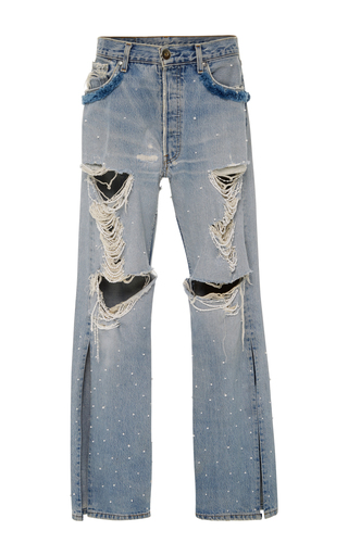 Medium jonathan simkhai blue distressed beaded jeans
