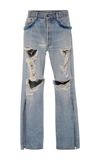 Medium jonathan simkhai blue distressed beaded jeans