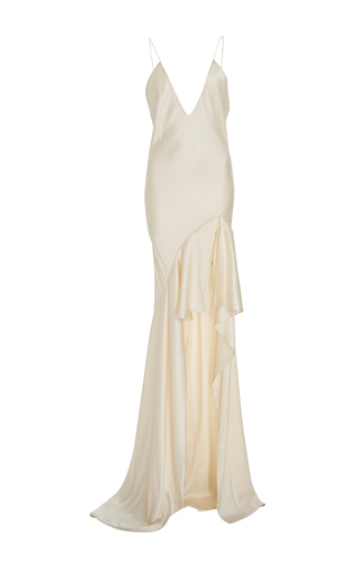 Medium jonathan simkhai nude silk high low slip gown
