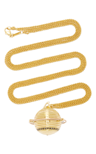 Medium monica rich kosann gold 18k yellow gold saturn commitment charm necklace on 30 double wheat chain
