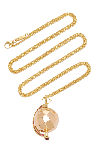 Medium monica rich kosann rose gold 18k rose gold mars passion charm necklace with rubies on 26 yellow gold cable chain