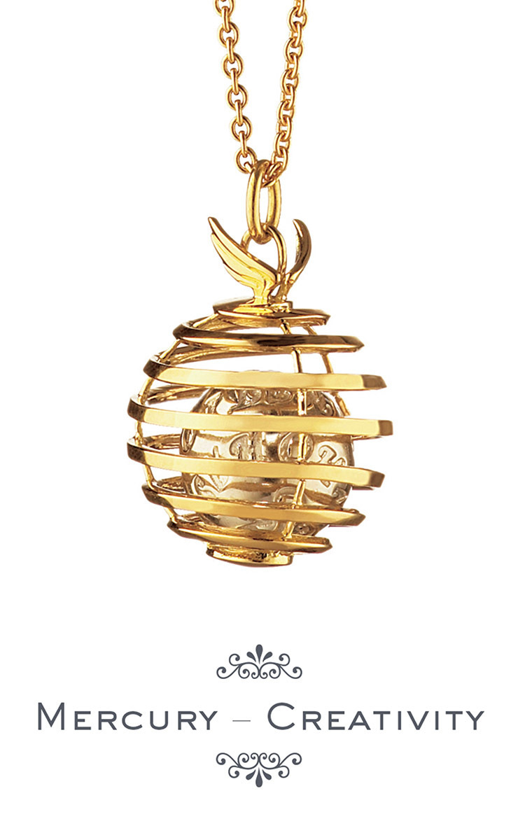 18K Yellow Gold Mercury Creativity Charm Necklace on 22 Wheat Chain Monica Rich Kosann McS89T
