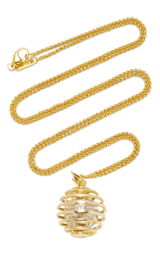 Medium monica rich kosann gold 18k yellow gold mercury creativity charm necklace on 22 wheat chain