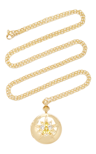 Medium monica rich kosann gold 18k yellow gold round locket with yellow sapphires and rock crystals on 32 chain