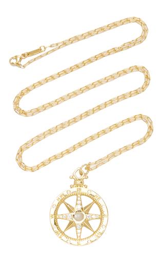 Medium monica rich kosann gold 18k yellow gold global compass charm with moonstones and diamonds on 32 chain