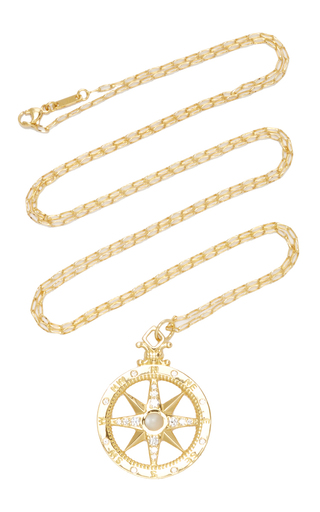 Medium monica rich kosann gold 18k yellow gold global compass charm with moonstones and diamonds on 32 chain