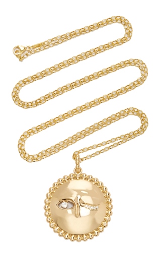 Medium monica rich kosann gold 18k yellow gold winking moon charm pendant with diamond eyes on 32 chain