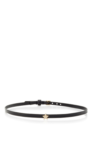 Medium ef collection black mini star leather choker