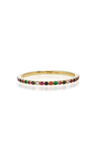 Medium ef collection gold eternity rainbow stack ring