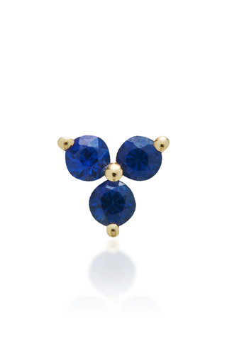 Medium ef collection gold blue sapphire trio stud