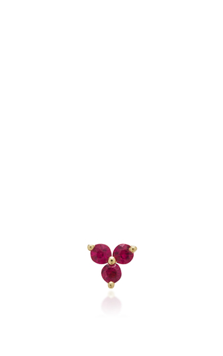 Medium ef collection rose gold ruby trio stud