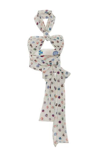 Medium leal daccarett white sombrillas halter top