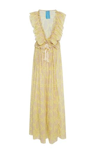 Medium yvonne s yellow printed cotton gauze maxi dress