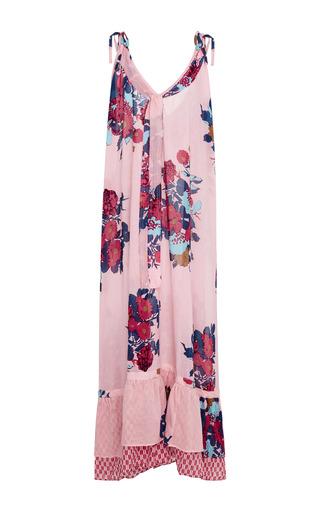 Medium yvonne s pink floral print cotton gauze maxi dress